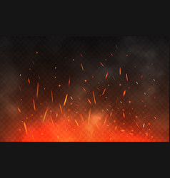 fire sparks flying up glowing particles on a vector image