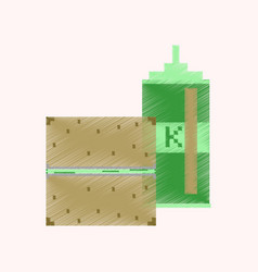 flat shading style icon pixel burger and ketchup vector image
