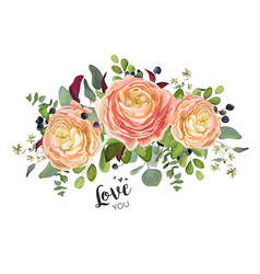 Floral card design garden peach rose ranunculuses vector