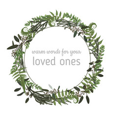 floral card with leaves eucalyptus brunia fern vector image