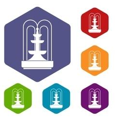 Fountain icons set vector
