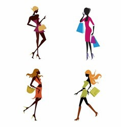 Four women shoping vector image