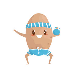 funny potato doing squat exercises with weight vector image