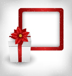 gift box with poinsettia and frame on grayscale vector image