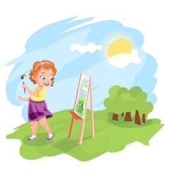 Girl painting outdoors vector