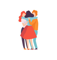 group happy young male and female embracing vector image