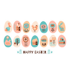 happy easter set of easter eggs with vector image