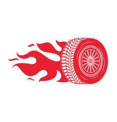 industry automotive wheel car in fire emblem vector image