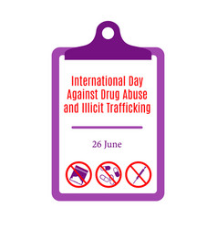International day against drug abuse and illicit vector