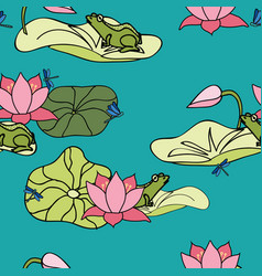 Its a frogs life frog floating on lilypad among vector