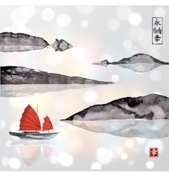 Junk boat with sails and mountains in water vector