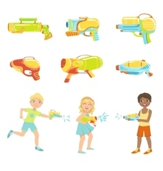 Kids Playing With Water Pistols And Different vector image