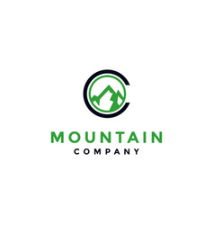 Letter c mountain logo design vector