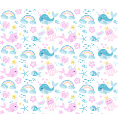 little whale unicorn seamless pattern modern vector image