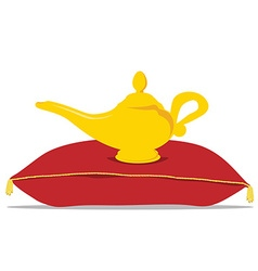 Magic lamp on pillow vector image