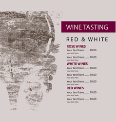 menu for wine tasting patterned glass and grapes vector image