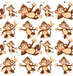 monkey on seamless pattern vector image