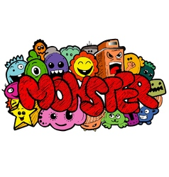 Monster cartoon hand-drawn doodle vector