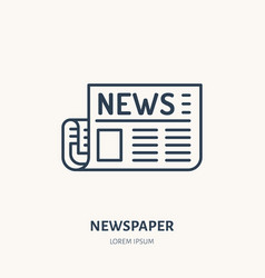 Newspaper flat line icon news article sign thin vector