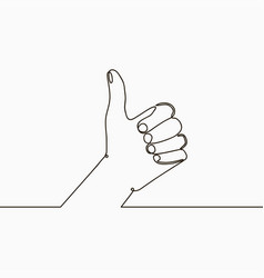 one line thumb up vector image