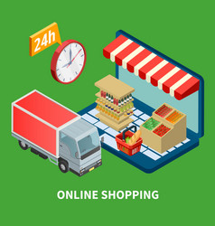 Online shopping isometric vector