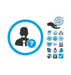 Online Support Flat Icon With Bonus vector image