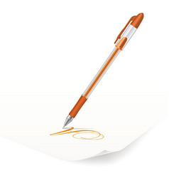 Orange ballpoint pen vector