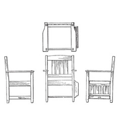 Orthographic projection of arm chair vintage vector