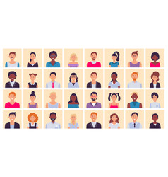 People avatar multiethnic people square portraits vector