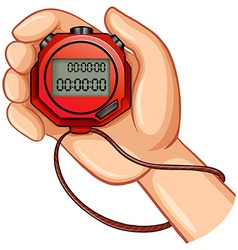Person using digital stopwatch vector image