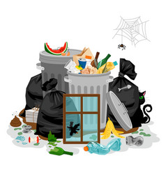 Pile of garbage isolated in white littering waste vector