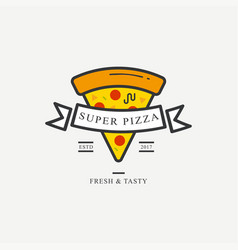 pizzeria badge design template with sliced pizza vector image