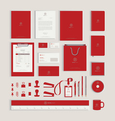 Red corporate identity design template vector