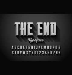 Retro style condensed font end title vector