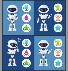 robot contemporary style set vector image
