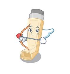 Romantic asthma inhaler cupid cartoon character vector