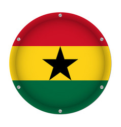 round metallic flag of ghana with screws vector image