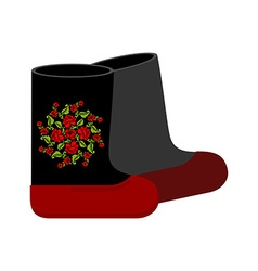 Russian felt boots Traditional winter warm shoes vector