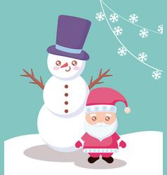 santa claus with snowman character vector image