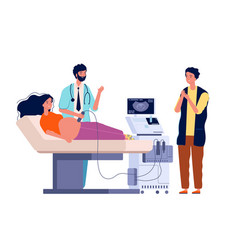 Scanning pregnant woman couple husband and wife vector
