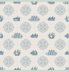 Seamless background on theme sea travel vector