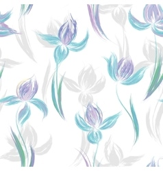 Seamless pattern with floral ornament irises in a vector image