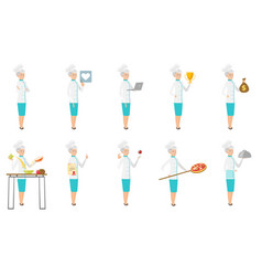 Senior caucasian chef set vector