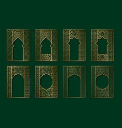 Set golden vintage frames in form ornate vector