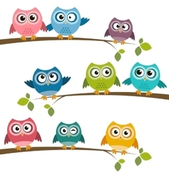 Set of colorful cartoon owls on branches vector
