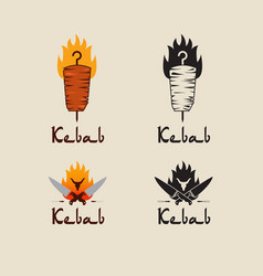 set of doner kebab logo templates creative vector image