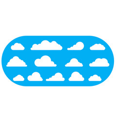 Set white icon cloud on blue baclground vector