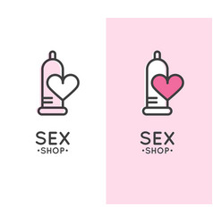 sex shop logo with condom and heart vector image
