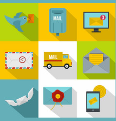 simple delivery icons set flat style vector image