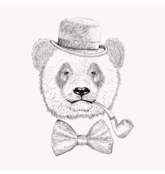 Sketch panda face with black bowler hat bow tie vector image